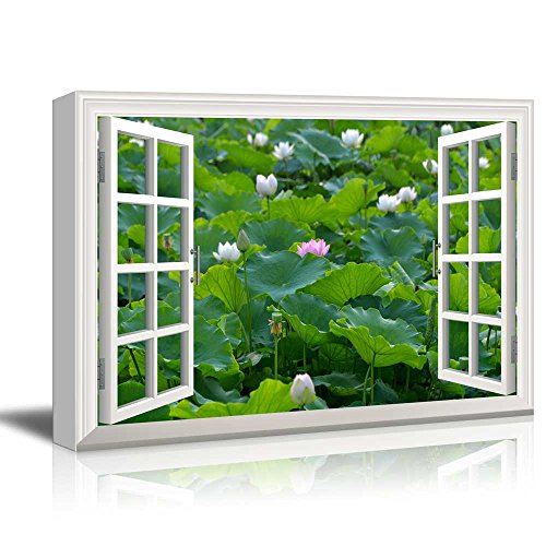Creative Window View Lotus in a Pond