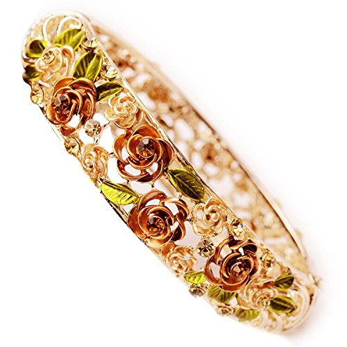 Gold Plating Vintage Flower Bracelet Bangle Crystal Beads Hand-Painted (Flower Crystal Bangle)