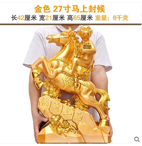 ZAMTAC Crafts Horse Monkey Business Gifts Living Room TV Cabinet Office Table Decorations - (Color: Gold, Size: A)
