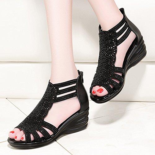 GTVERNH Mujer Zapatos/Pendiente Tacón Sandalias Verano Boca De Pescado Antideslizante Fondo Grueso 6 Cm De Tacon Alto Zapatos De Mujer.Treinta Y Seis Black Thirty-six|black