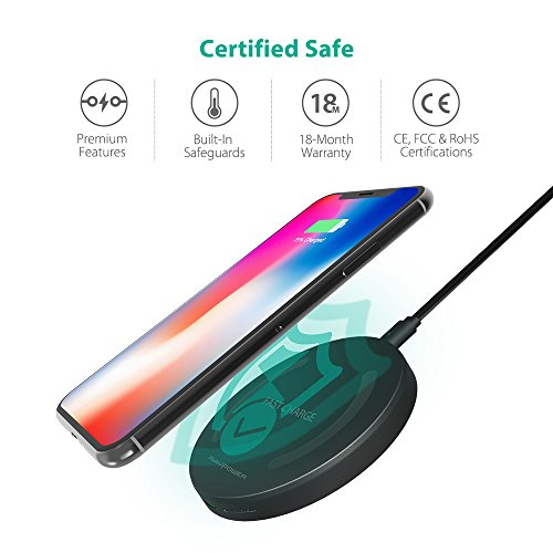 Wireless Charger RAVPower Qi-Certified Fast Wireless Charging Pad Quick Charge, 10W Fast Charge for Galaxy S9 S8+ S8 S7 Edge S7 & Standard Charge for iPhone X 8 Plus 8 (No AC Adapter)
