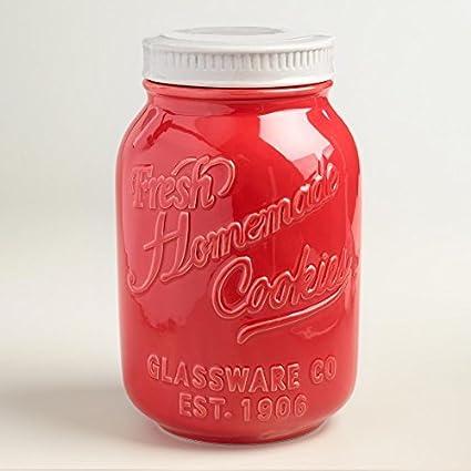 Amazon.com: Red Ceramic Mason Cookie Jar - World Market by Cost Plus ...