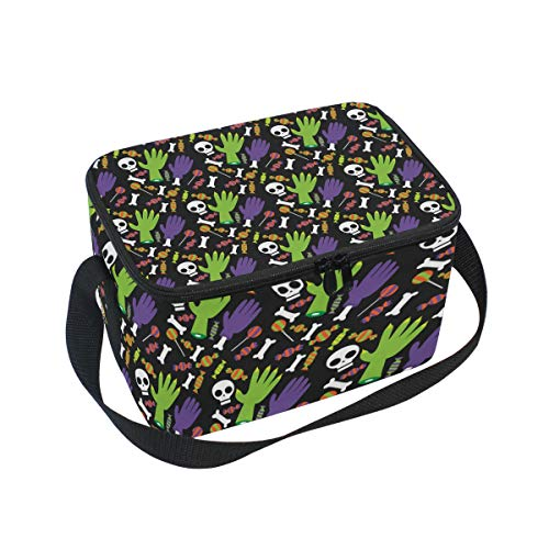 Halloween Skull Fingers Insulated Lunch Box Bag Tote
