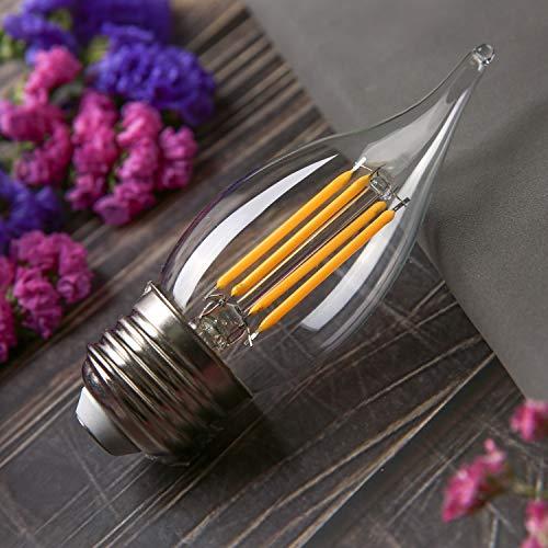 BORT CA11/C35 Chandelier led Light Bulbs, Dimmable 4W Equivalent to 40W LED Candelabra Bulbs, 2700K Warm White, E26 Medium Base LED Bulbs, Flame Tip (CA11-E26 Base-12 Pack)