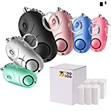 TOODOO 6 Pack Emergency Personal Alarm Extreme Sound 130 dB Portable with LED Light, Self Defense Keychain for Kids Women Elderly Protection, Survival Application (Multicolor A)