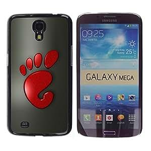 YiPhone /// Prima de resorte delgada de la cubierta del caso de Shell Armor - Cool Funny Cute Foot Print Red - Samsung Galaxy Mega 6.3 I9200 SGH-i527