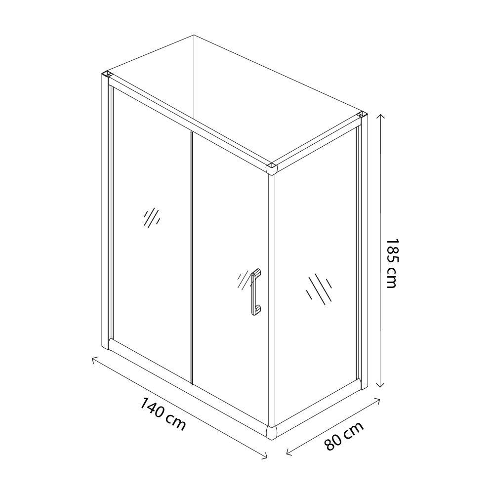 80 x 100 x 185 cm Box Doccia Rettangolare Zermatt Cabina Bagno Con Porta Scorrevole Ante In Cristallo Temperato Trasparente da 6 mm Struttura Alluminio Anodizzato Maniglie in Acciaio Cromato