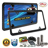 Carbon Fiber License Plate Frame (Black Metal) with Extra Stainless Steel Anti-theft Screws 57 Kit, EASY INSTALL(2Pcs-4Holes)