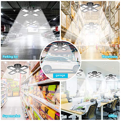 Yepran New Upgraded LED Garage Ceiling Light, 120W Deformable Garage Lights 10000Lm 6000K LED Shop Light for Warehouse, Basement, Barn with 4 Adjustable Panels