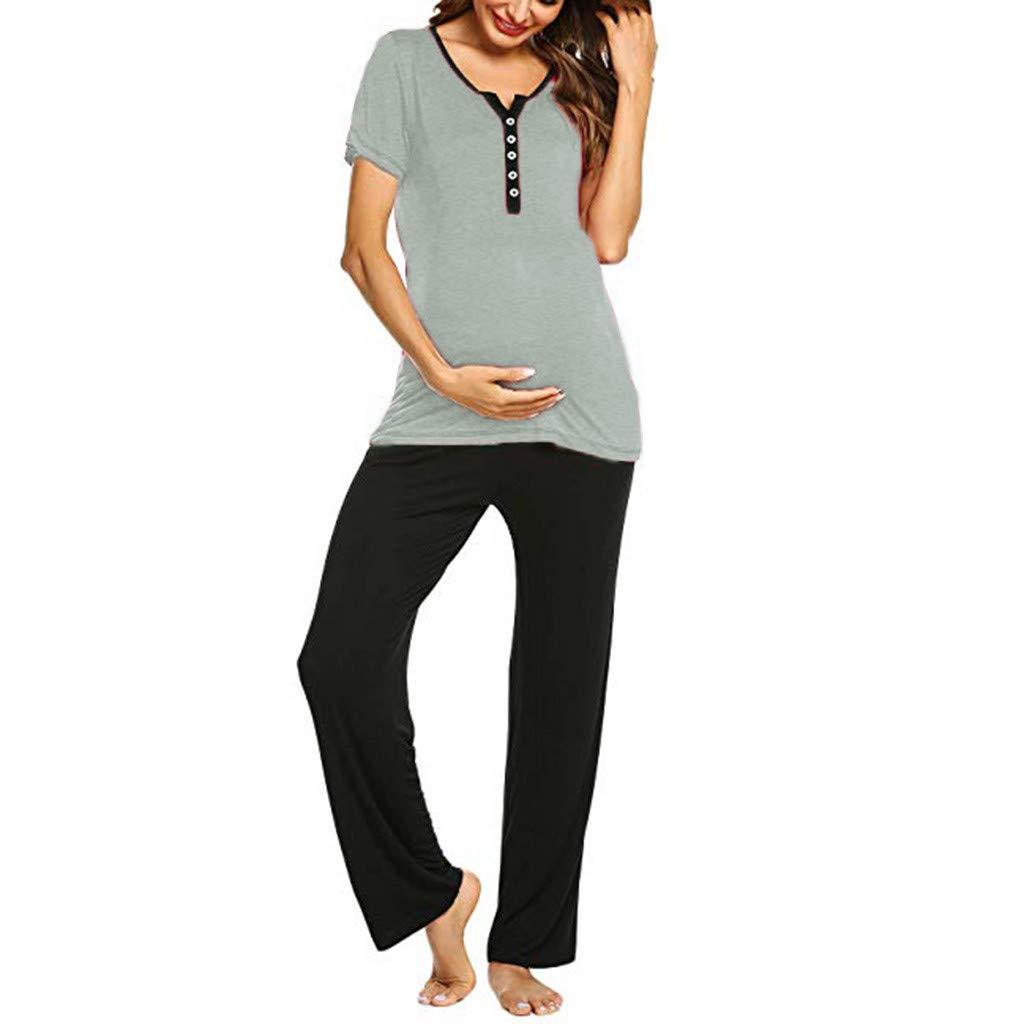Iusun Women's Maternity Tops Pants Pajamas Set Suit Plus Size Mom Nursing Baby Short Sleeve Leisure T-Shirt Breastfeeding Pregnants Clothes