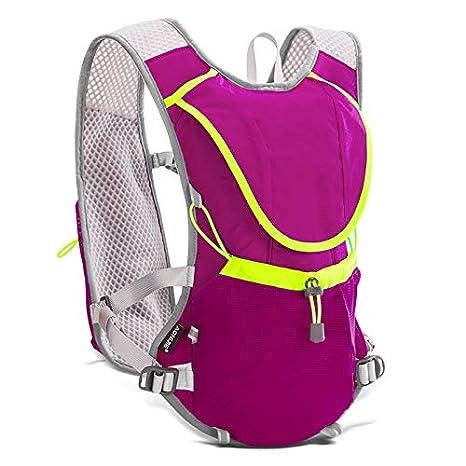 Amazon.com : XUSHSHBA 8L Lightweight Running Vest Backpack Outdoor Sports Marathon Cycling Hiking Bag Mochila Optional 1.5L Hydration Bag Black add 2bottle ...