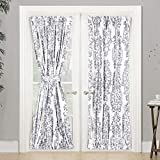 """Samantha Door Curtain,Thermal Room Darkening Privacy French Door Panel for Patio Sliding Window,Single Rod Pocket Curtain with Bonus Matching Tieback, 52""""Wide By 72"""" Long +1.5"""" Header (Gray)"""