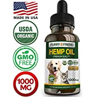 Hemp Oil for Dogs and Cats - 1000MG - Anxiety Relief for Dogs and Cats - 100% Organic Pet Hemp Oil - Supports Hip and Joint Health - Grown & Made in USA - Natural Relief for Pain