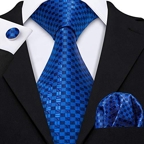 (Barry.Wang Royal Blue Ties Plaid Tie Set Handkerchief Cufflinks)