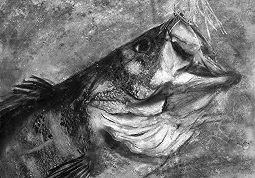Largemouth Bass Fishing Art Print, Bass Fishing Wall Black and White Art Decor, Bass Charcoal Drawing Print, Hand Signed Fishin Gift By Jack Tarpon