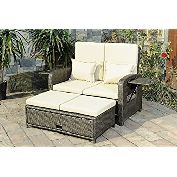 sunjoy sdnc540pst love seat recliner with ottoman