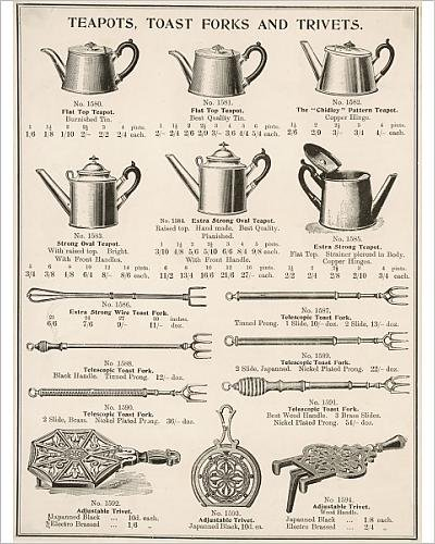 (10x8 Print of An assortment of teapots, toast forks and trivets (4436417))