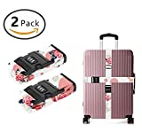 YEAHSPACE 2-Pc 0pink flower floral Luggage Strap Suitcase Belts TSA Approved Lock