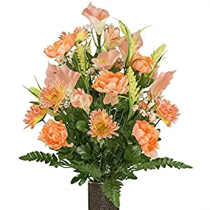 Peach Peony and Daisy Mix, featuring the Stay-In-The-Vase Design(C) Flower Holder (LG1949) 83