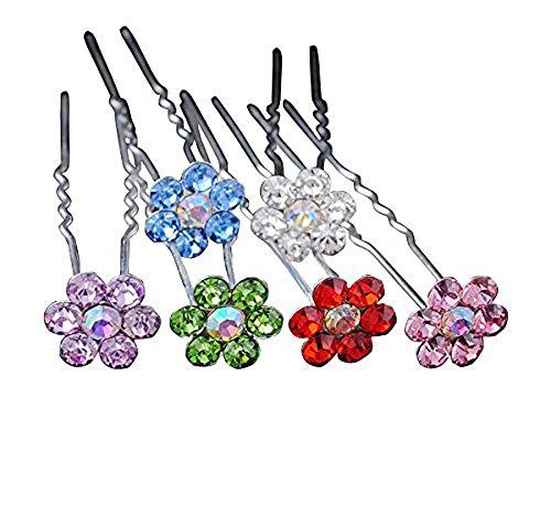 Chenkou Craft Fancy AB Color Rhinestone Flower Wedding Bridal Prom Hair Accessory Hair Pins 24pcs