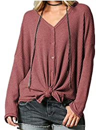 YANDW Women Waffle Knit Sweater Long Sleeve Tops Button Down Shirts Tie Front Henley