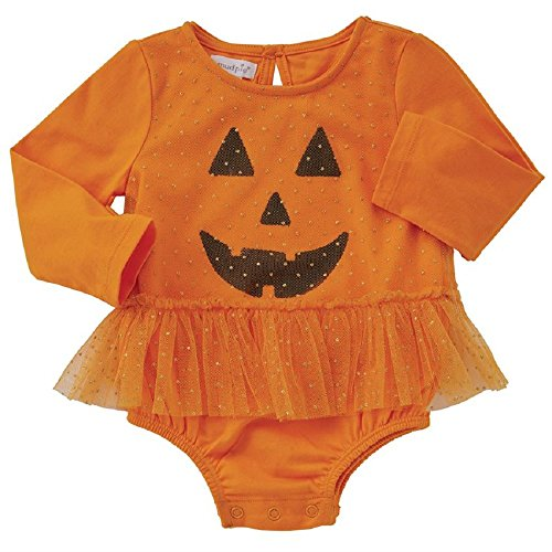 Mud Pie Baby Girls Halloween Mesh Tutu Pumpkin Crawler, Orange, 9-12 Months