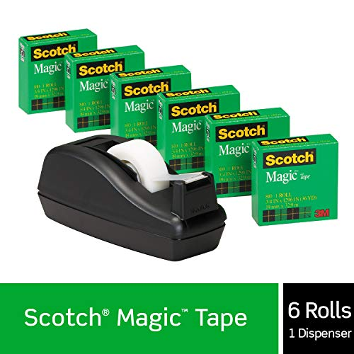 Scotch Magic Tape with Black Dispenser, Numerous Applications, Engineered for Office and Home Use, 3/4 x 1000 Inches, Boxed, 6 Rolls, 1 Dispenser (810K3)