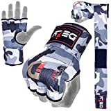 Defy Gel Padded Inner Gloves with Hand Wraps - MMA Muay Thai Boxing Fight Pair (White Camo, Medium)