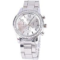 MAMOIU Unisex Stainless Steel Analog Quartz Wrist Watch Rhineston Wrist Watches
