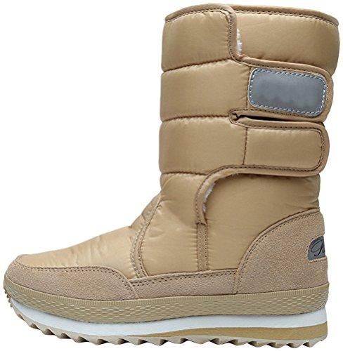 High Casual Mid Warm Khaki Faux Fur Women's Boots Snow Fashion Winter Suede Boot F5qzw
