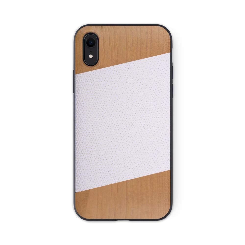 iATO iPhone XR Designer Case. White Lizard Pattern Genuine Leather and Cherry Wood Premium Protective Bumper. Unique Wooden Cover for 6.1 inch iPhone XR (2018) | Supports Wireless Charging