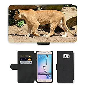 PU LEATHER case coque housse smartphone Flip bag Cover protection // M00135530 León Leona Vida Silvestre Animal Hunter // Samsung Galaxy S6 (Not Fits S6 EDGE)