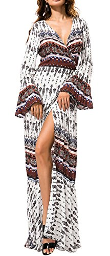 R.Vivimos Womens Summer Long Sleeve Cardigan Sexy Maxi Long Dresses,Brown, Tag L