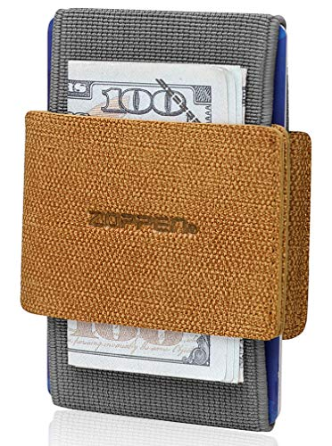 Zoppen Ultra Slim Reversible Wallet Fabric Minimalist Wallet Elastic Band Front Pocket Credit Card Holder For Men Women