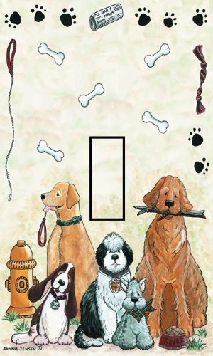 SwitchStix Dogs Single Toggle Peel and Stick Switch Plate Cover Décor
