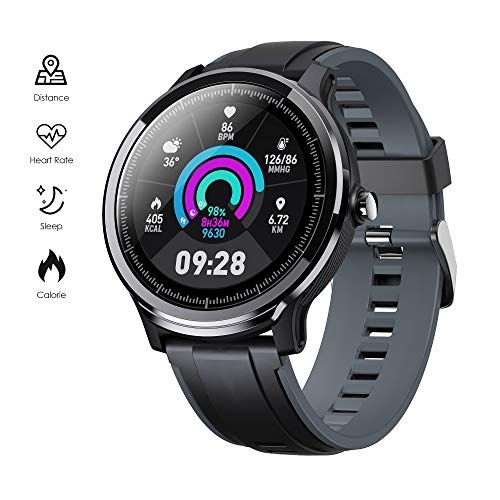 GOKOO Smart Watch Sport Activity Tracker Waterproof Smartwatch for Men with Blood Pressure Heart Rate Sleep Monitor Breathing Train Step Distance Calorie Full Touch Camera Music Control