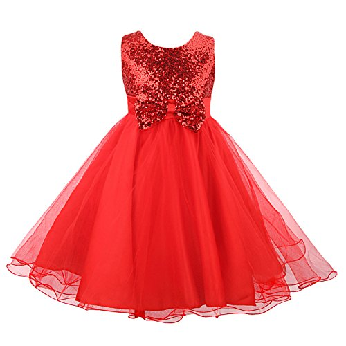 irls' Sequin Flower Tulle Tutu Dress, Sleeveless Bowknot Wedding Party Ball Gown(Updated Version), Red, 6-7 Years ()