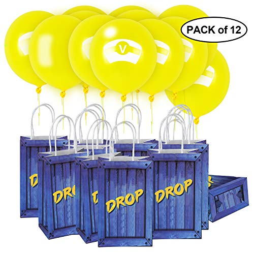Video Game Party Supplies - Favor Bags & Yellow V Balloons - Supply Drop Box Decorations for Kids Boys Birthday - Pack of 12]()