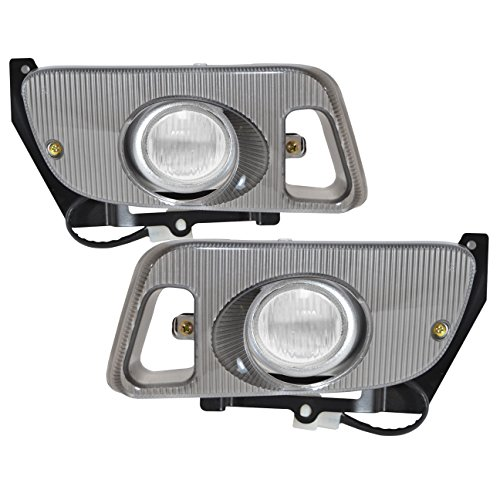 AJP Distributors For 1992 1993 1994 1995 92 93 94 95 Honda Civic Hatchback Hatch Back Coupe 2 Door 3 Door Front Driving Fog Lights Lamps Assembly Switch Wiring Bezel Upgrade Replacement Set (Clear)