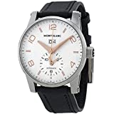 Montblanc Timewalker Automatic White Dial Black Leather Mens Watch 110579