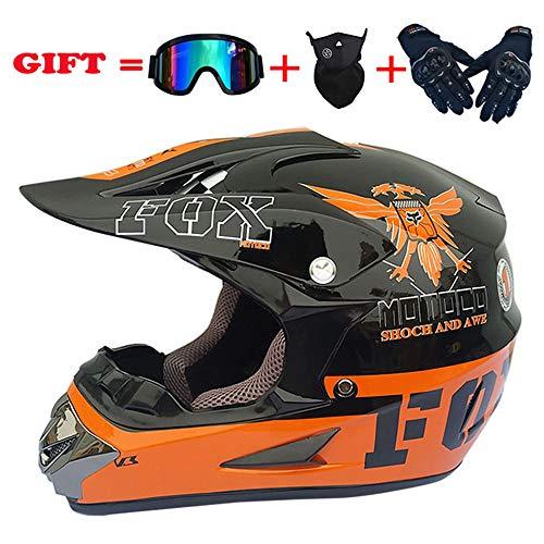 WWtoukui Cool Eagle Motocross Helmet, Four Seasons Universal Motorcycle Racing Rider Off-Road Full Face Helmet, DOT Certified Helmet (Set of 4) Orange Plus Black,XL:60~61cm