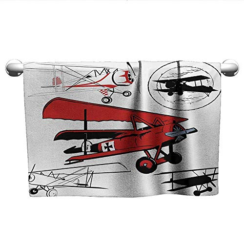 Antique Biltmore Collection - alisoso Vintage Airplane,Kids Towels Collection of Various Biplanes Nostalgic Antique Silhouettes Print Hotel Pool Towels Red White Black W 20