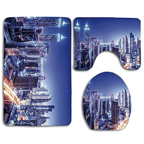 Halloween Travel Destinations (MEWSGK Toilet seat Cover, Personalized 3PCS Non Slip Toilet Seat Cover Rug Bathroom City Dubai Downtown UAE Night Scenery Modern High Rise Buildings Travel)