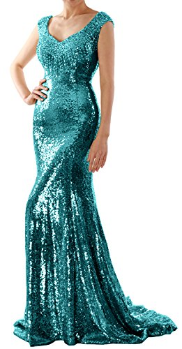 Macloth Sequin Dress Mermaid Long Formal Evening Party Women Prom Gown Wedding Teal f76gyYbv