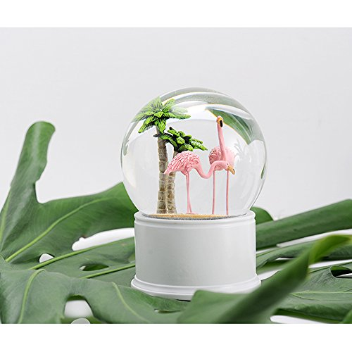 - Laugh Cat Exquisite Pink Flamingo Snow Globrs Crystal Ball Decorative Ornaments Modern Northern Europe Style for Romantic Wedding Desk Decoration Birthday Gift (Flamingo)