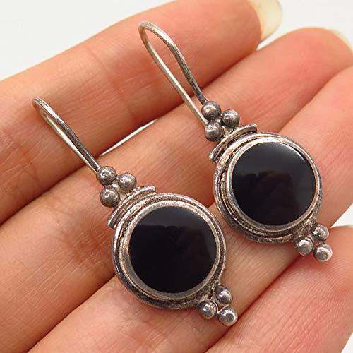 925 Sterling Silver Vintage Real Black Onyx Hook Earrings