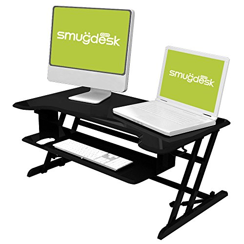 Standing Desk, Stand up Adjustable Desk Riser Converter for Desktop Laptop Dual Monitor by smugdesk