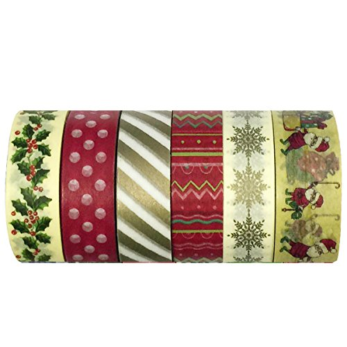 allydrew Oh Santa Washi Decorative Masking Tapes, Set of 6