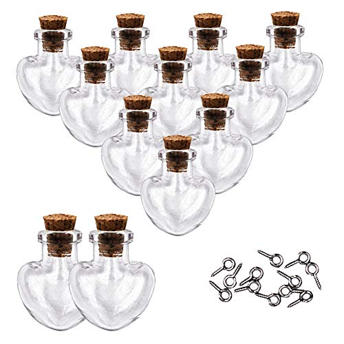 (MIGK 24pcs Small Mini Glass Jars Bottles with Cork Stoppers and Eye Screws - 1ml Tiny Vials Wishing Message Bottle Charms Necklace Decorative Accessories for Wedding Party Favors,Love Heart Shape)