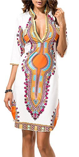 - SKYHALO Women Bohemian V Neck Vintage African Print Ethnic Shift Dress